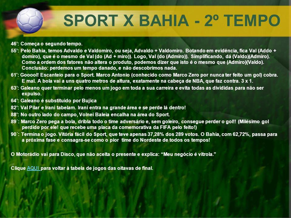 SPORT X BAHIA - 2º TEMPO 46: Começa o segundo tempo. 55: Pelo Bahia, temos Advaldo e Valdomiro, ou seja, Advaldo + Valdomiro. Botando em evidência, fi