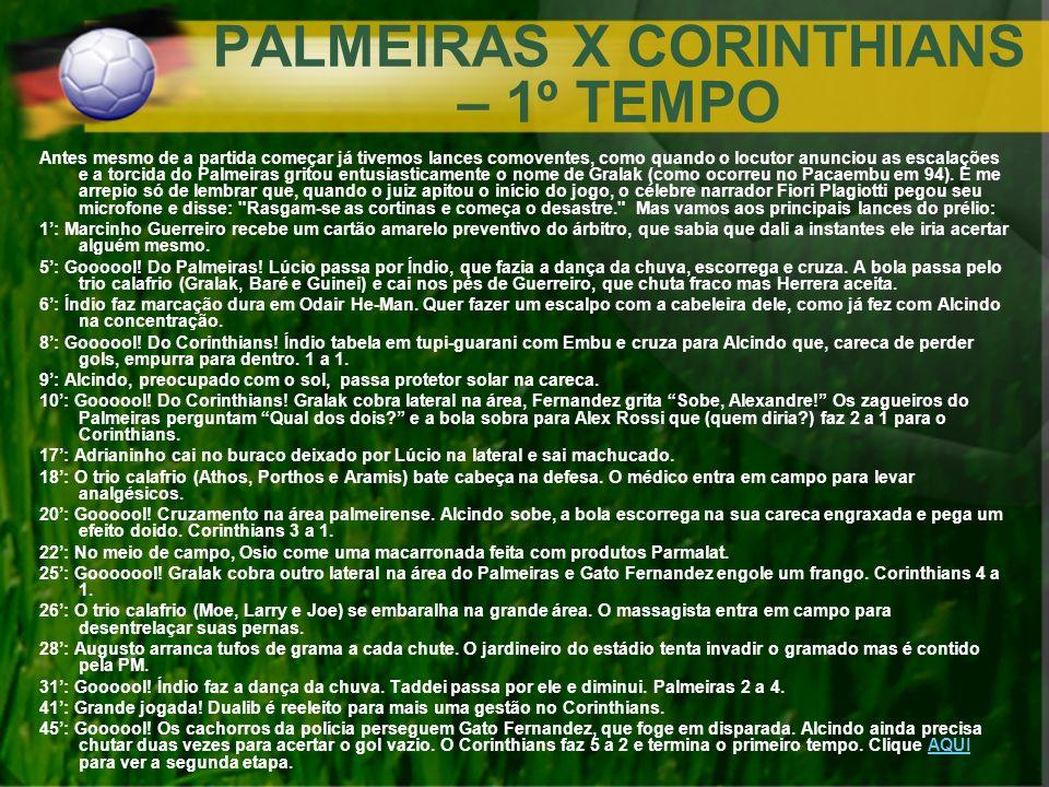 PALMEIRAS X CORINTHIANS – 1º TEMPO Antes mesmo de a partida começar já tivemos lances comoventes, como quando o locutor anunciou as escalações e a tor