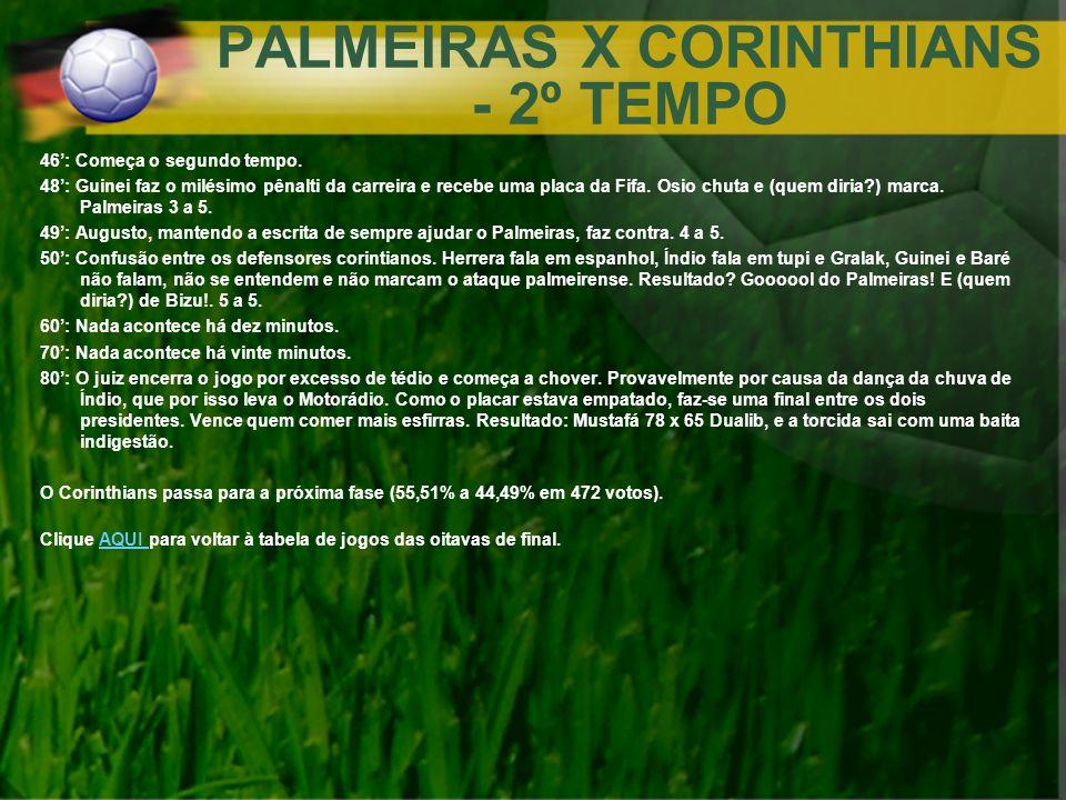 PALMEIRAS X CORINTHIANS - 2º TEMPO 46: Começa o segundo tempo. 48: Guinei faz o milésimo pênalti da carreira e recebe uma placa da Fifa. Osio chuta e