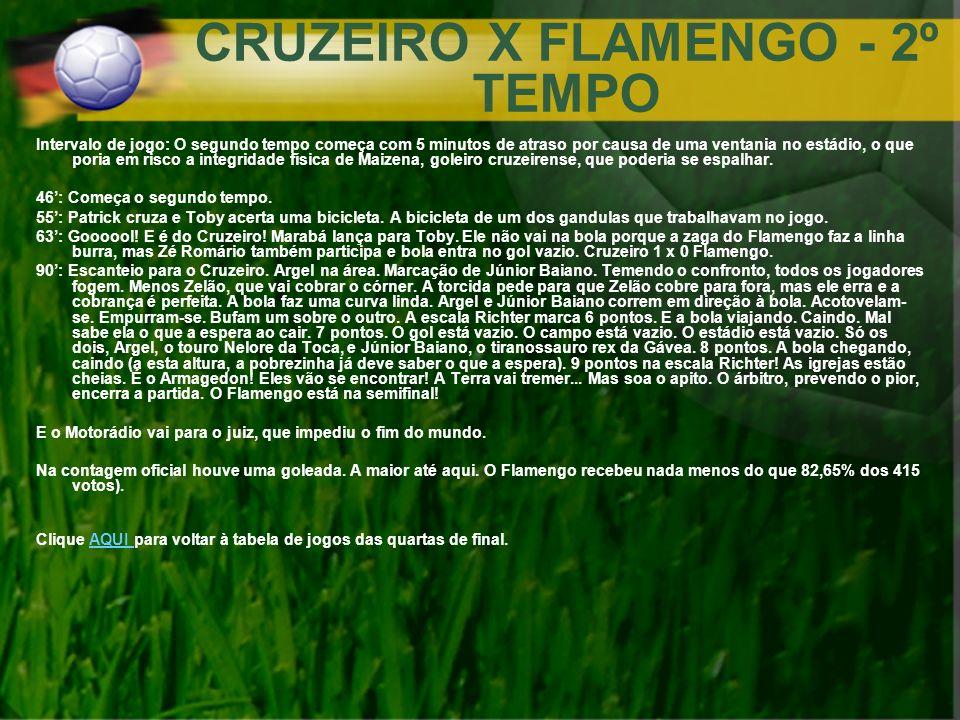 CRUZEIRO X FLAMENGO - 2º TEMPO Intervalo de jogo: O segundo tempo começa com 5 minutos de atraso por causa de uma ventania no estádio, o que poria em