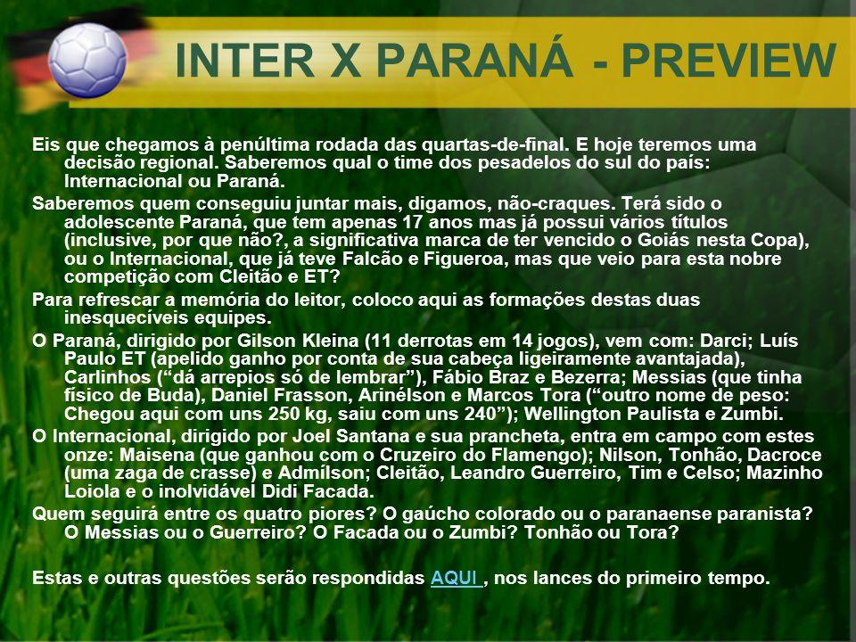 INTER X PARANÁ - PREVIEW Eis que chegamos à penúltima rodada das quartas-de-final. E hoje teremos uma decisão regional. Saberemos qual o time dos pesa