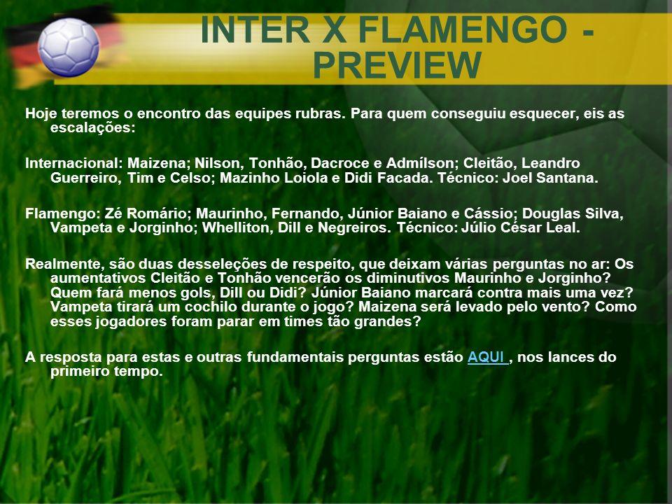 INTER X FLAMENGO - PREVIEW Hoje teremos o encontro das equipes rubras. Para quem conseguiu esquecer, eis as escalações: Internacional: Maizena; Nilson