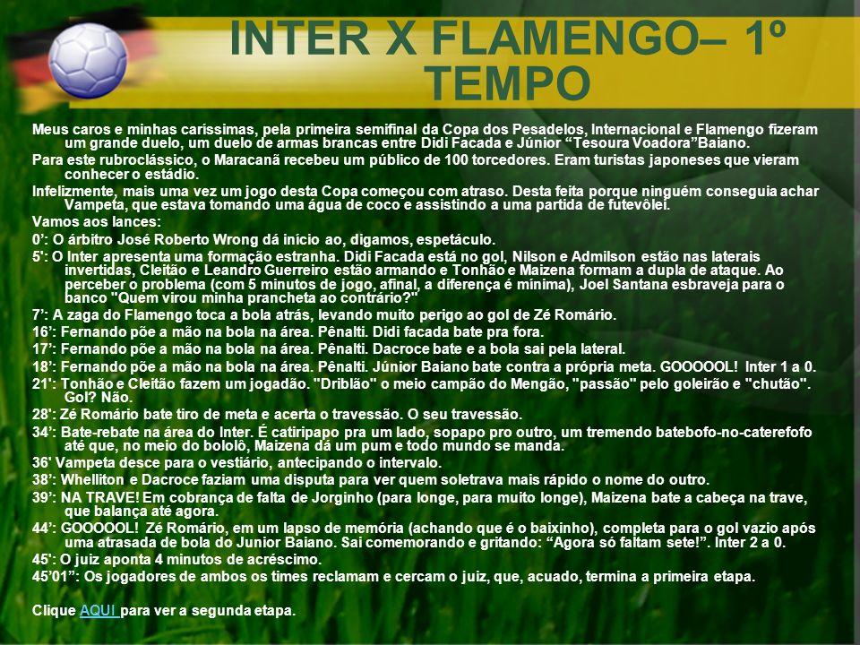 INTER X FLAMENGO– 1º TEMPO Meus caros e minhas caríssimas, pela primeira semifinal da Copa dos Pesadelos, Internacional e Flamengo fizeram um grande d