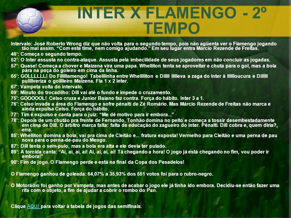 INTER X FLAMENGO - 2º TEMPO Intervalo: José Roberto Wrong diz que não volta para o segundo tempo, pois não agüenta ver o Flamengo jogando tão mal assi