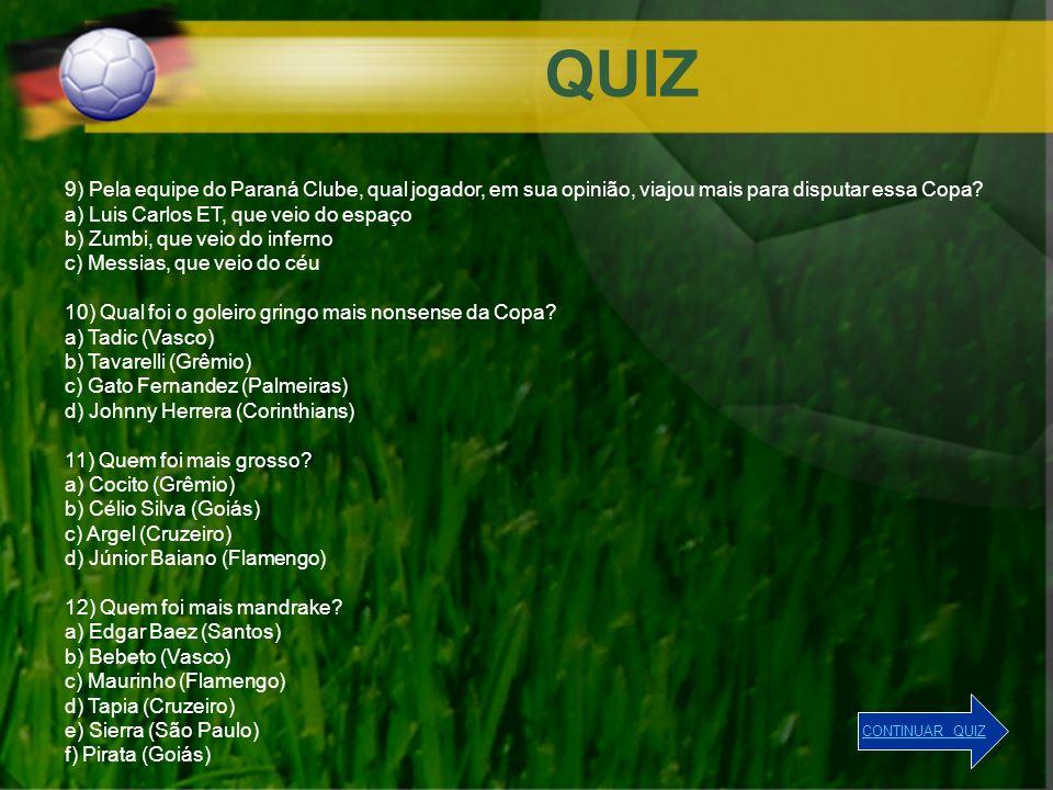 QUIZ 9) Pela equipe do Paraná Clube, qual jogador, em sua opinião, viajou mais para disputar essa Copa? a) Luis Carlos ET, que veio do espaço b) Zumbi