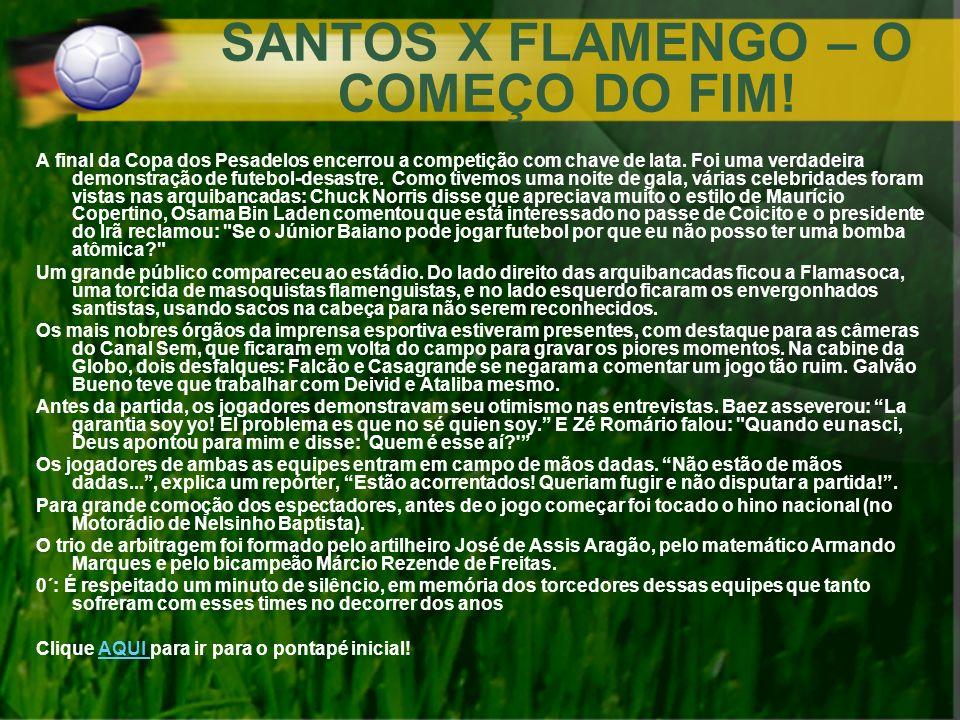 SANTOS X FLAMENGO – O COMEÇO DO FIM! A final da Copa dos Pesadelos encerrou a competição com chave de lata. Foi uma verdadeira demonstração de futebol