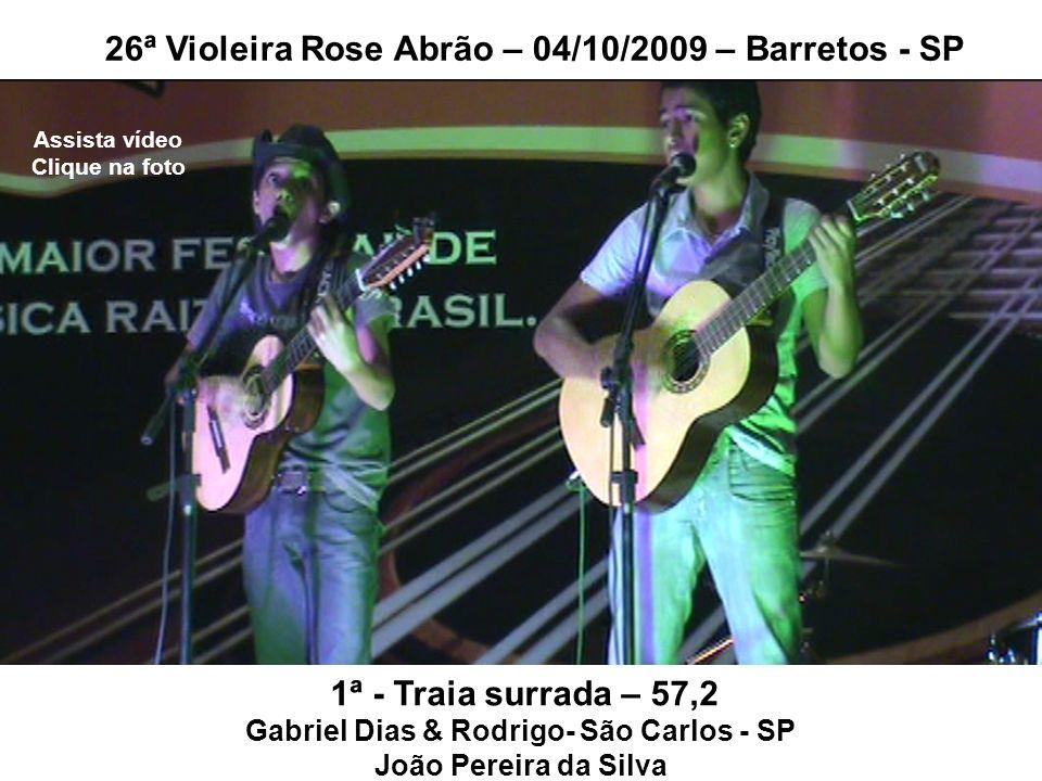 1ª - Traia surrada – 57,2 Gabriel Dias & Rodrigo- São Carlos - SP João Pereira da Silva 26ª Violeira Rose Abrão – 04/10/2009 – Barretos - SP Assista v