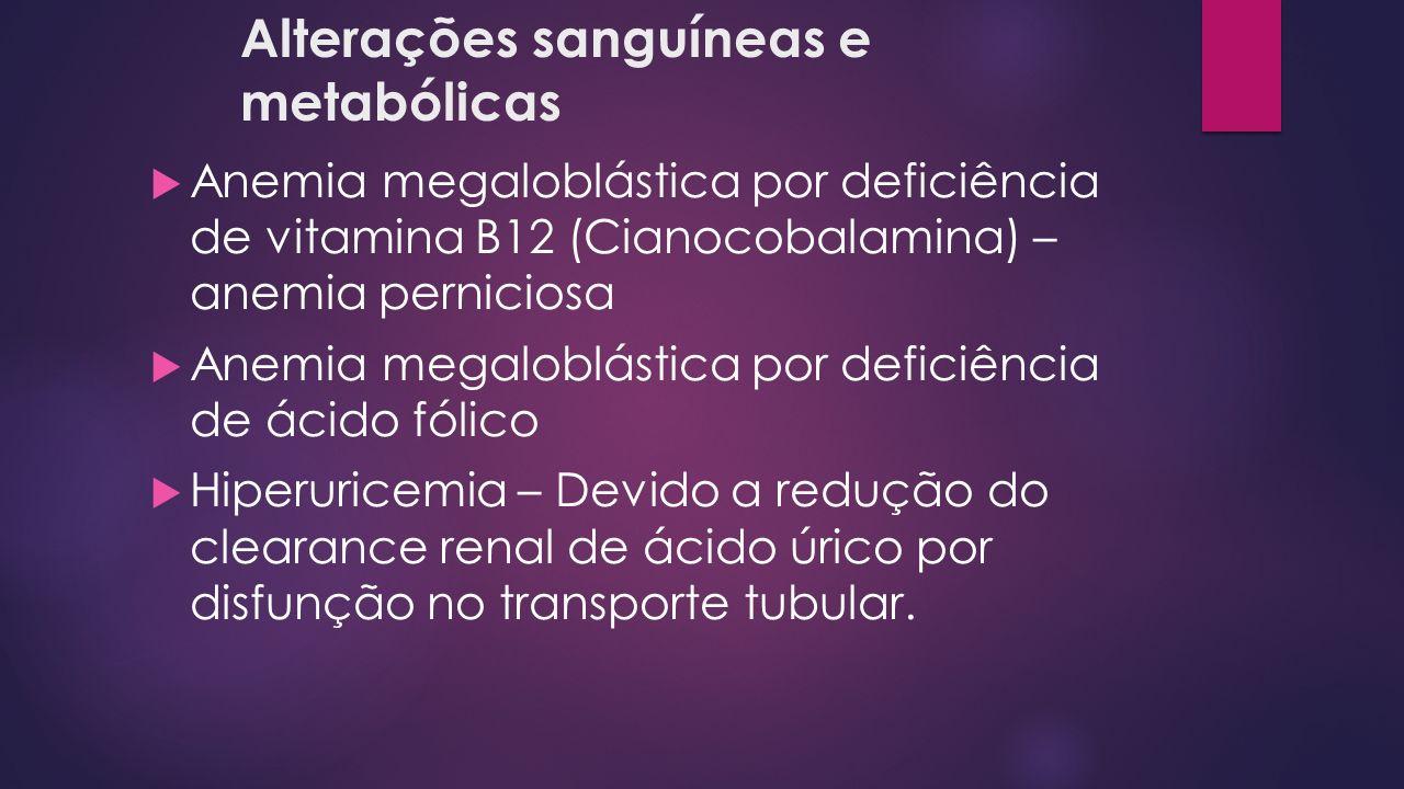 Alterações sanguíneas e metabólicas Anemia megaloblástica por deficiência de vitamina B12 (Cianocobalamina) – anemia perniciosa Anemia megaloblástica