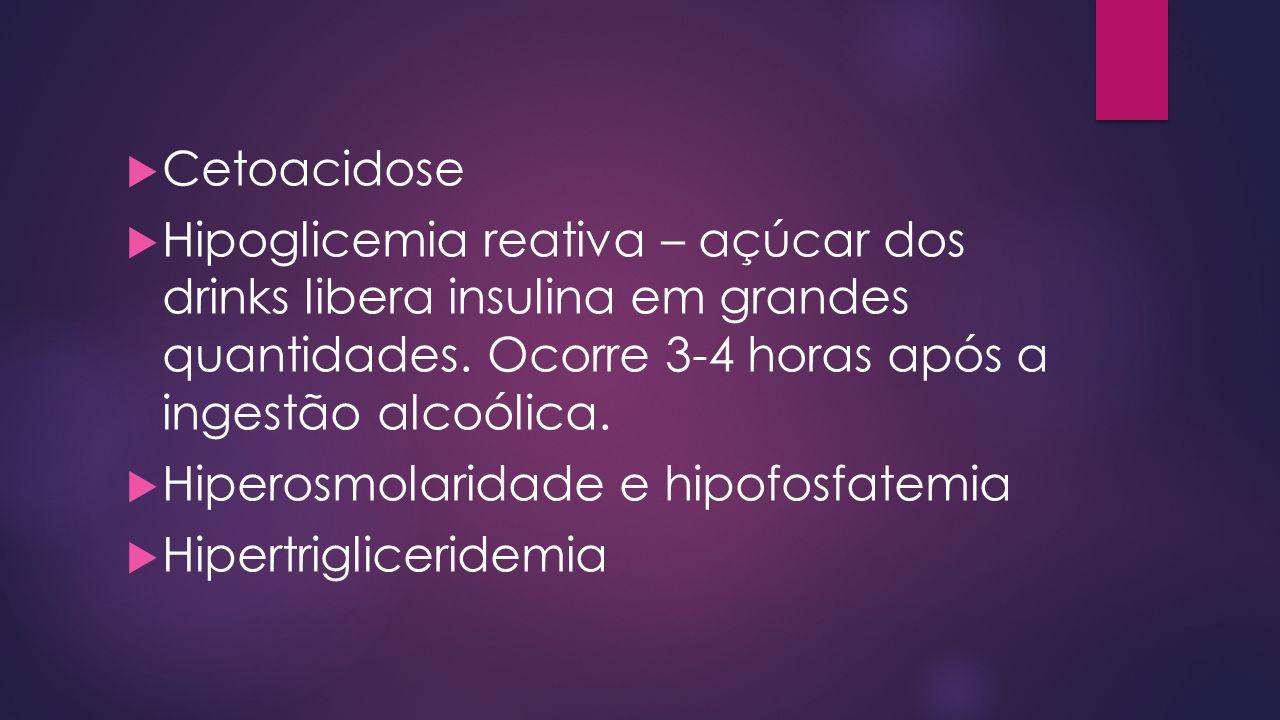 Cetoacidose Hipoglicemia reativa – açúcar dos drinks libera insulina em grandes quantidades. Ocorre 3-4 horas após a ingestão alcoólica. Hiperosmolari