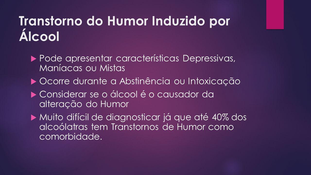 Transtorno do Humor Induzido por Álcool Pode apresentar características Depressivas, Maníacas ou Mistas Ocorre durante a Abstinência ou Intoxicação Co