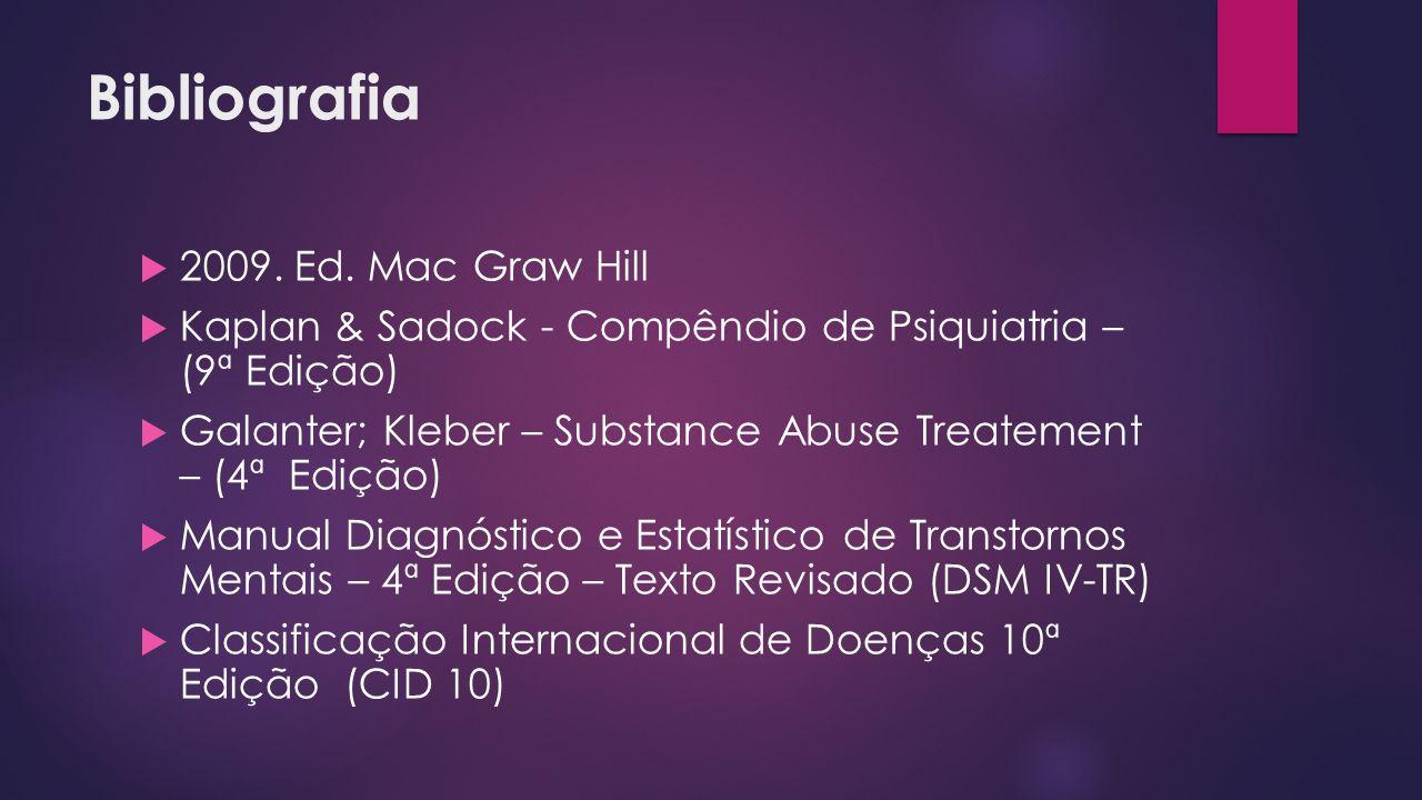 Bibliografia 2009. Ed. Mac Graw Hill Kaplan & Sadock - Compêndio de Psiquiatria – (9ª Edição) Galanter; Kleber – Substance Abuse Treatement – (4ª Ediç