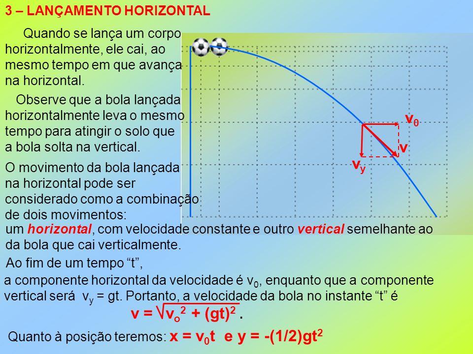 3 – LANÇAMENTO HORIZONTAL Quando se lança um corpo horizontalmente, ele cai, ao mesmo tempo em que avança na horizontal. Observe que a bola lançada ho