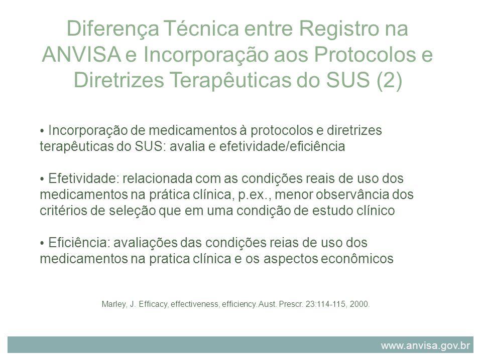 Diferença Técnica entre Registro na ANVISA e Incorporação aos Protocolos e Diretrizes Terapêuticas do SUS (2) Incorporação de medicamentos à protocolo