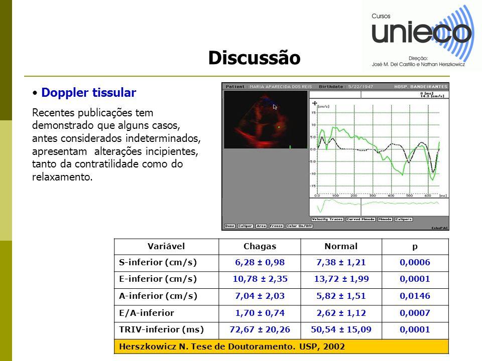 Discussão Doppler tissular Recentes publicações tem demonstrado que alguns casos, antes considerados indeterminados, apresentam alterações incipientes