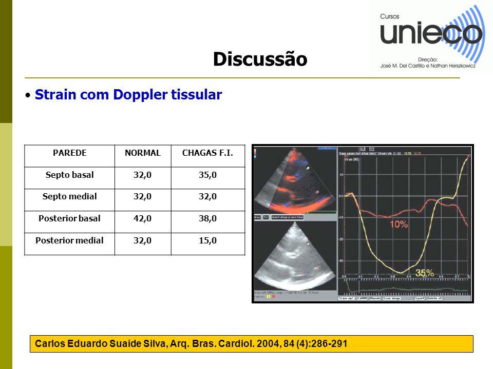 Discussão Carlos Eduardo Suaide Silva, Arq. Bras. Cardiol. 2004, 84 (4):286-291 PAREDENORMALCHAGAS F.I. Septo basal32,035,0 Septo medial32,0 Posterior