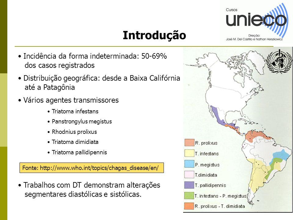 Introdução Incidência da forma indeterminada: 50-69% dos casos registrados Distribuição geográfica: desde a Baixa Califórnia até a Patagônia Vários ag