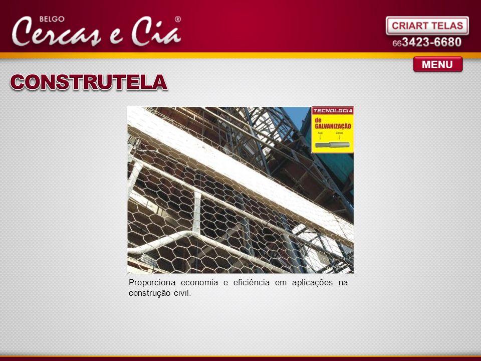 MENU Proporciona economia e eficiência em aplicações na construção civil.