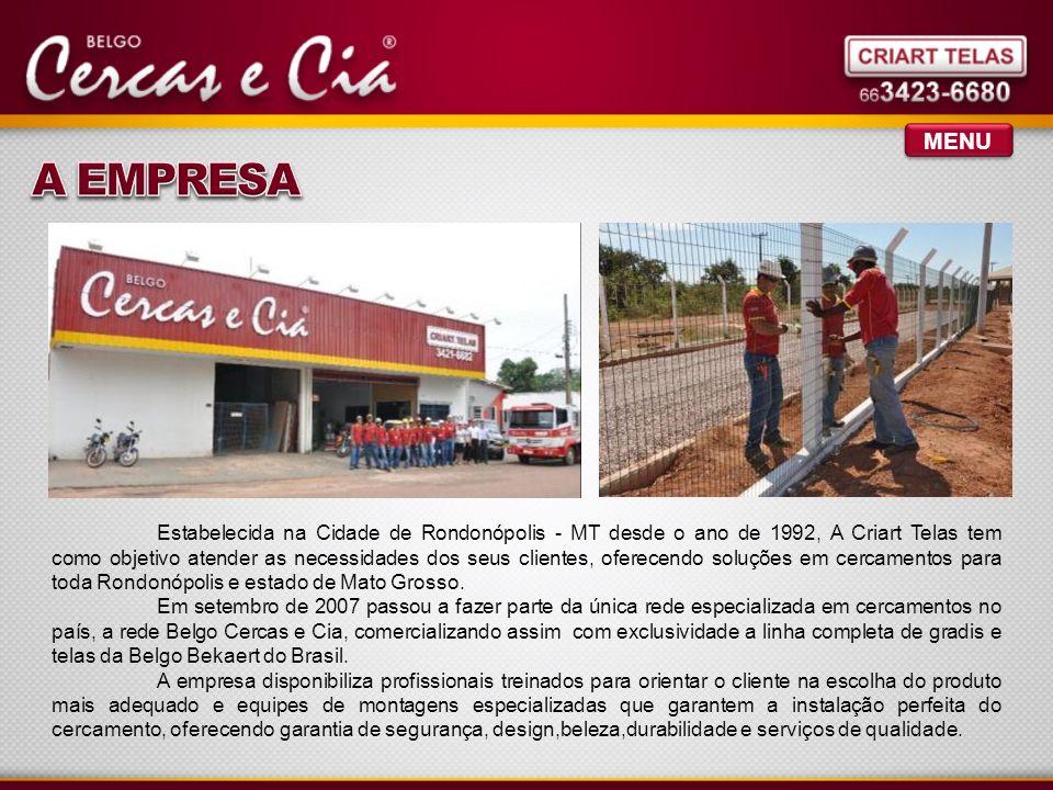 MENU Estabelecida na Cidade de Rondonópolis - MT desde o ano de 1992, A Criart Telas tem como objetivo atender as necessidades dos seus clientes, oferecendo soluções em cercamentos para toda Rondonópolis e estado de Mato Grosso.