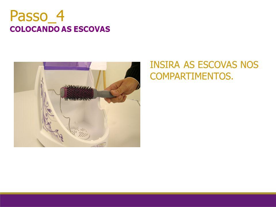 Passo_4 COLOCANDO AS ESCOVAS INSIRA AS ESCOVAS NOS COMPARTIMENTOS.