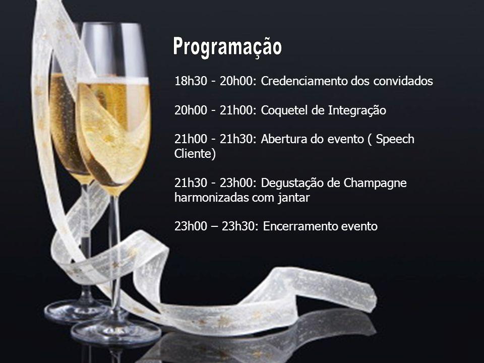 18h30 - 20h00: Credenciamento dos convidados 20h00 - 21h00: Coquetel de Integração 21h00 - 21h30: Abertura do evento ( Speech Cliente) 21h30 - 23h00: