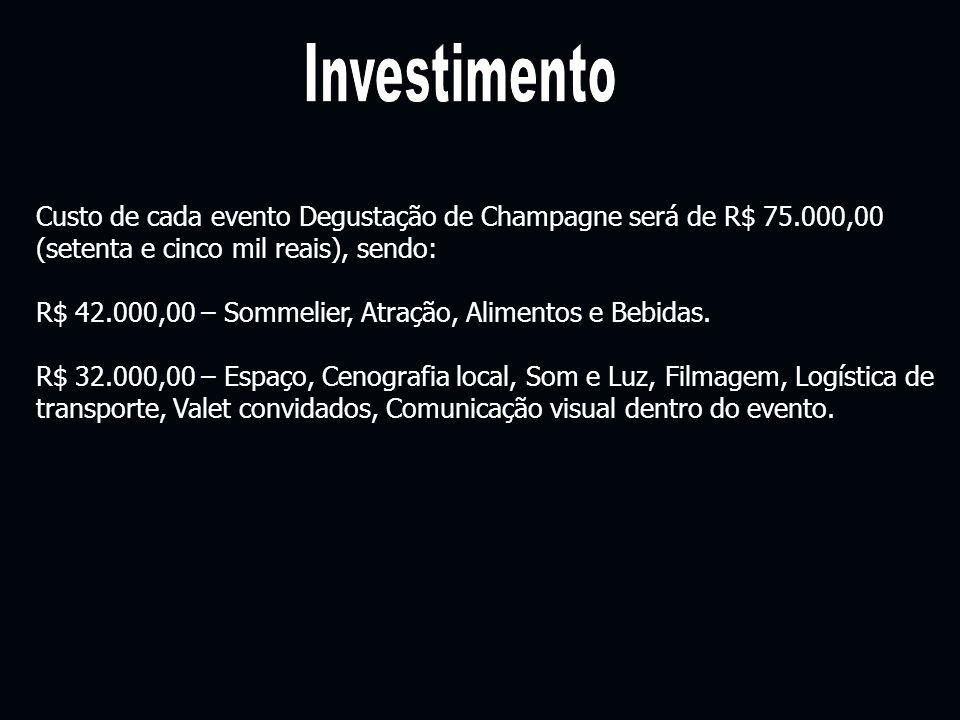 Custo de cada evento Degustação de Champagne será de R$ 75.000,00 (setenta e cinco mil reais), sendo: R$ 42.000,00 – Sommelier, Atração, Alimentos e B