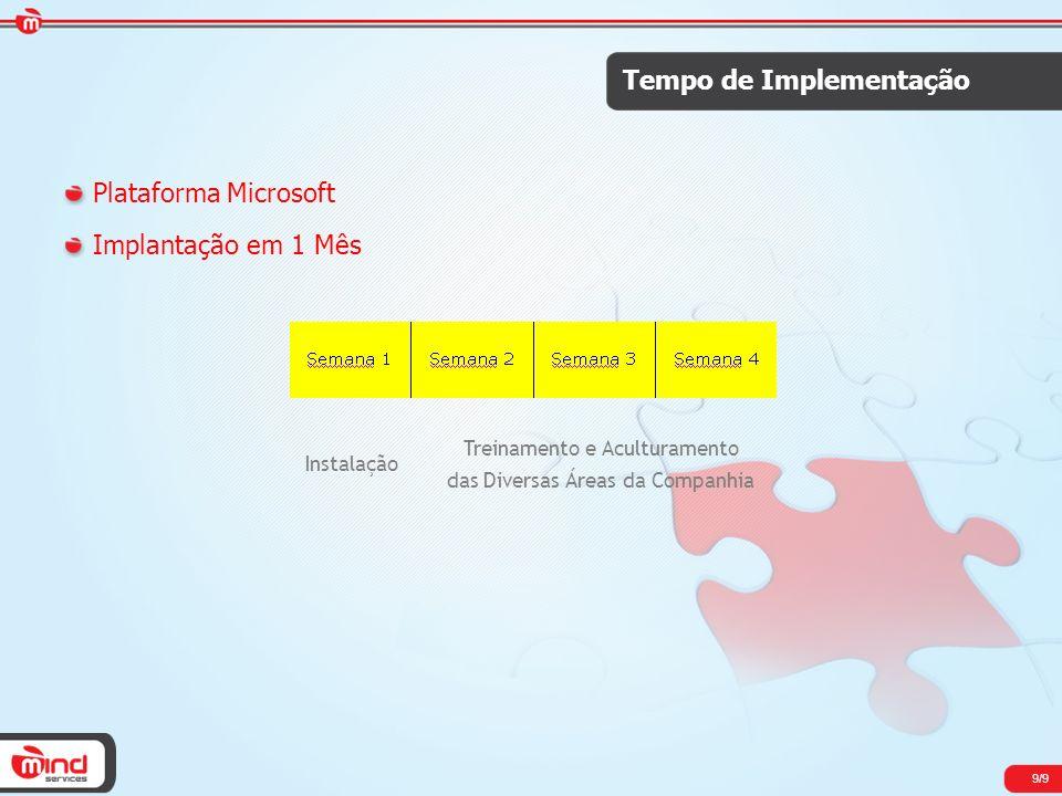 Tempo de Implementação Plataforma Microsoft Implantação em 1 Mês Instalação Treinamento e Aculturamento das Diversas Áreas da Companhia 9/9