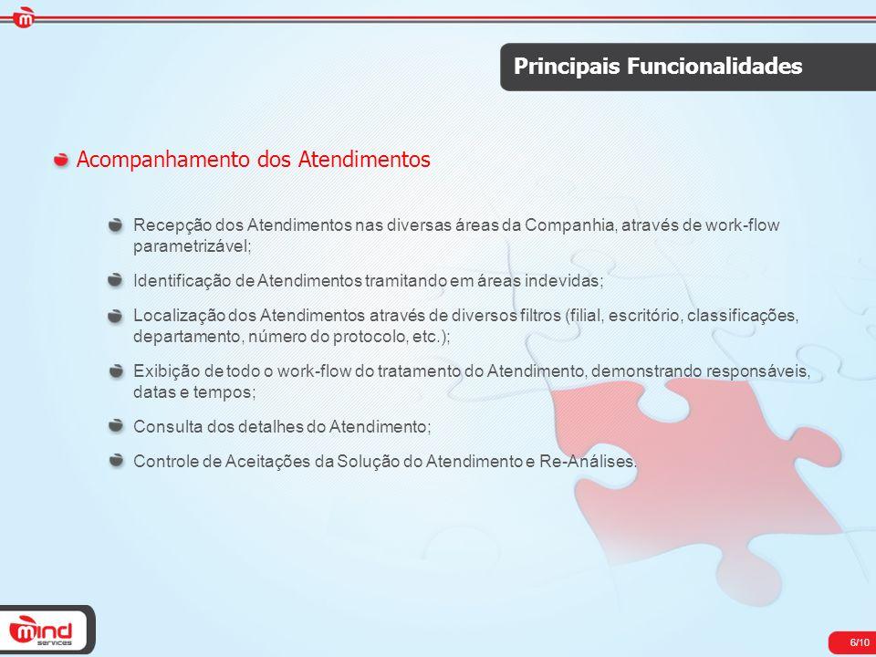6/10 Principais Funcionalidades Acompanhamento dos Atendimentos Recepção dos Atendimentos nas diversas áreas da Companhia, através de work-flow parame