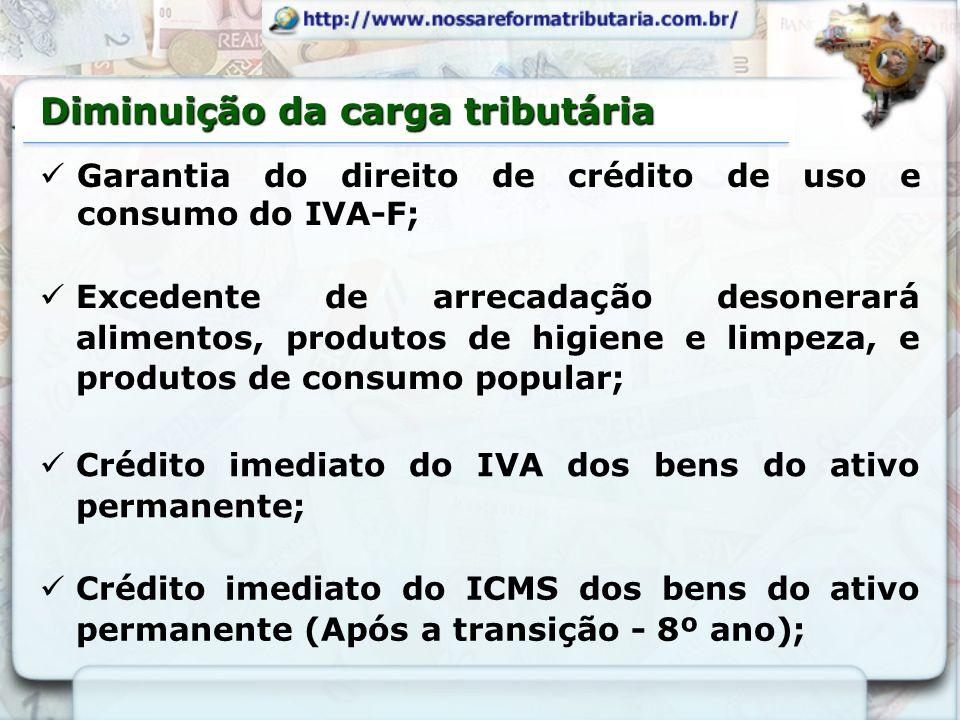 Crédito imediato do ICMS dos bens do ativo permanente (Após a transição - 8º ano); Diminuição da carga tributária Crédito imediato do IVA dos bens do