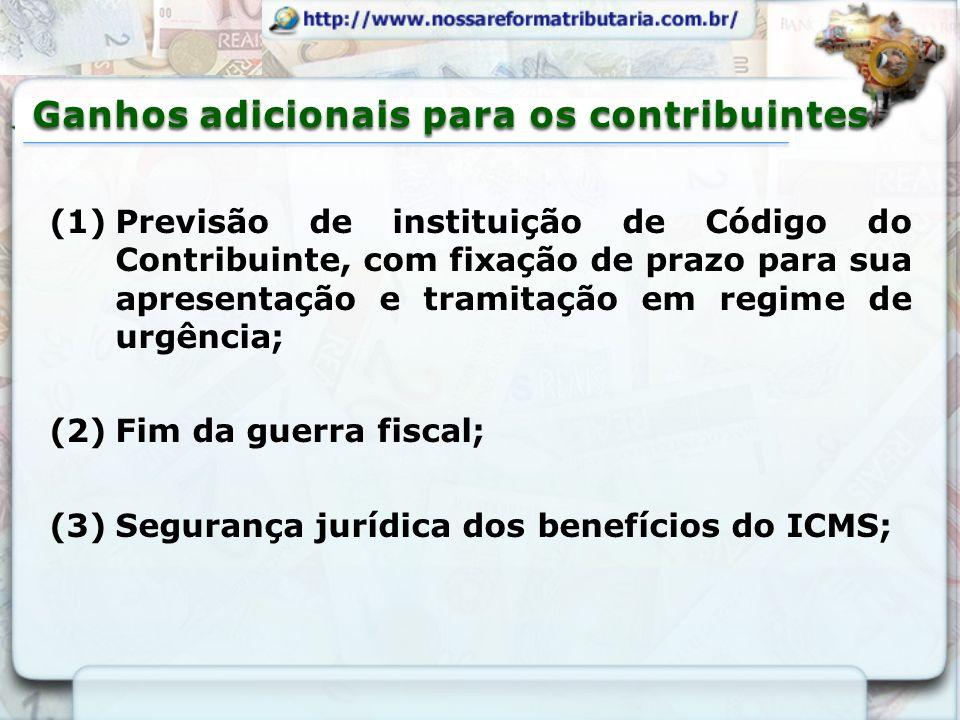 (1)Previsão de instituição de Código do Contribuinte, com fixação de prazo para sua apresentação e tramitação em regime de urgência; (2)Fim da guerra