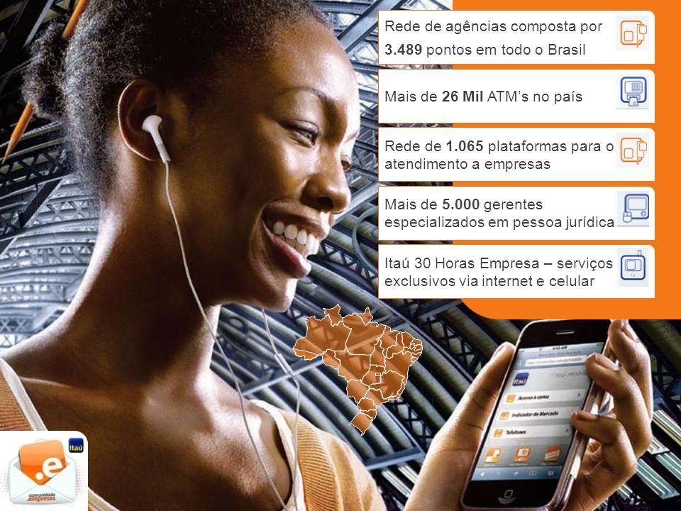 Rede de agências composta por 3.489 pontos em todo o Brasil Mais de 26 Mil ATMs no país Rede de 1.065 plataformas para o atendimento a empresas Mais d