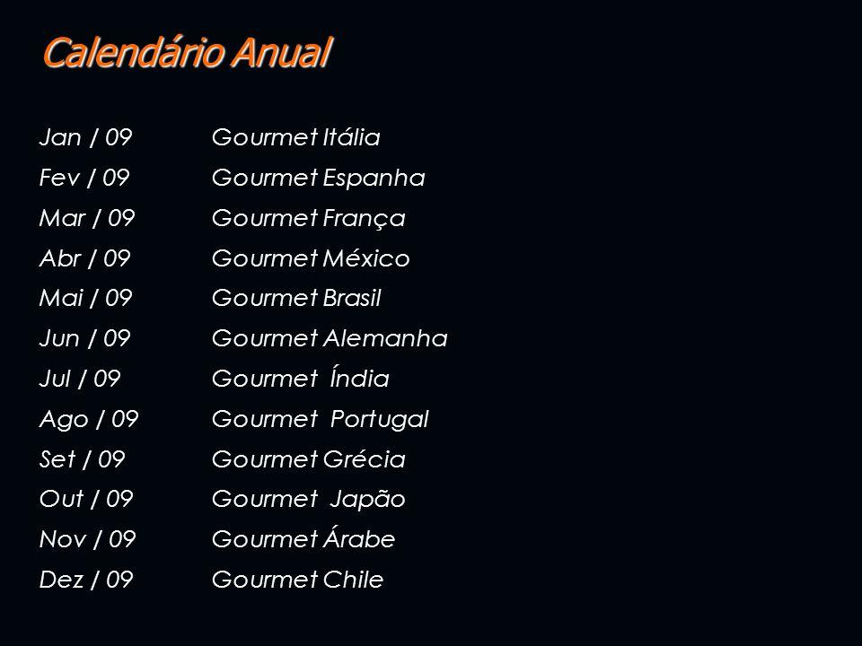 Calendário Anual Jan / 09Gourmet Itália Fev / 09 Gourmet Espanha Mar / 09 Gourmet França Abr / 09 Gourmet México Mai / 09 Gourmet Brasil Jun / 09 Gour