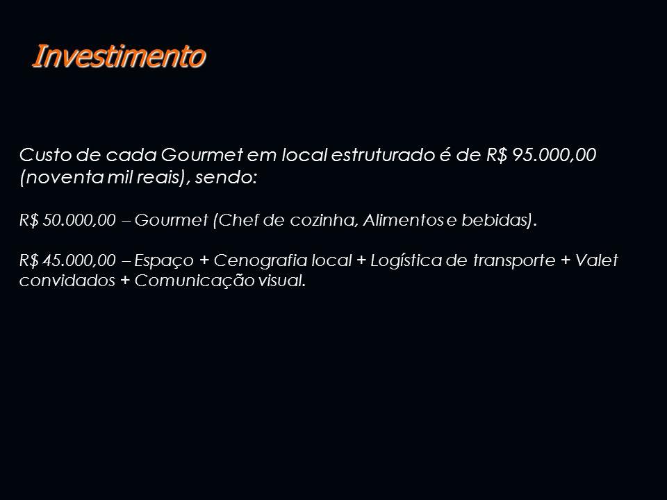 Investimento Custo de cada Gourmet em local estruturado é de R$ 95.000,00 (noventa mil reais), sendo: R$ 50.000,00 – Gourmet (Chef de cozinha, Aliment