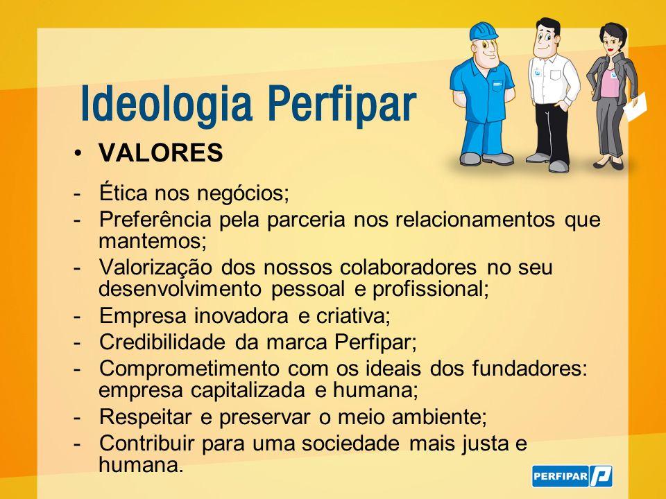 VALORES - Ética nos negócios; - Preferência pela parceria nos relacionamentos que mantemos; - Valorização dos nossos colaboradores no seu desenvolvime