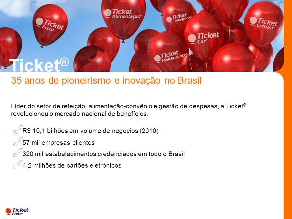 Ticket ® 35 anos de pioneirismo e inovação no Brasil Líder do setor de refeição, alimentação-convênio e gestão de despesas, a Ticket ® revolucionou o