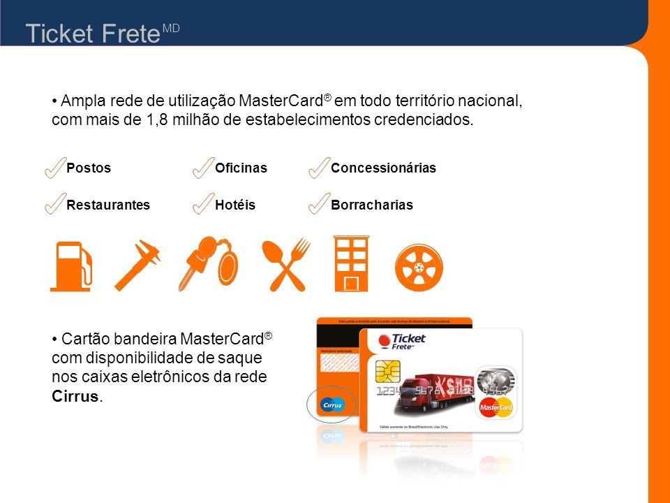 Ticket Frete Ampla rede de utilização MasterCard ® em todo território nacional, com mais de 1,8 milhão de estabelecimentos credenciados. Cartão bandei