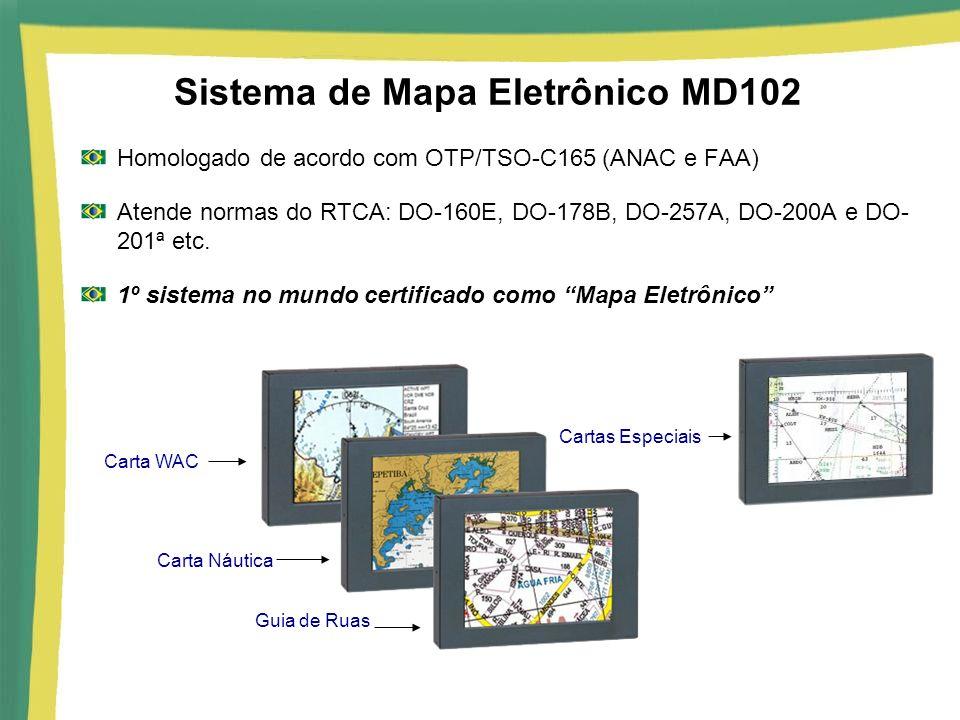 Sistema de Mapa Eletrônico MD102 Homologado de acordo com OTP/TSO-C165 (ANAC e FAA) Atende normas do RTCA: DO-160E, DO-178B, DO-257A, DO-200A e DO- 20