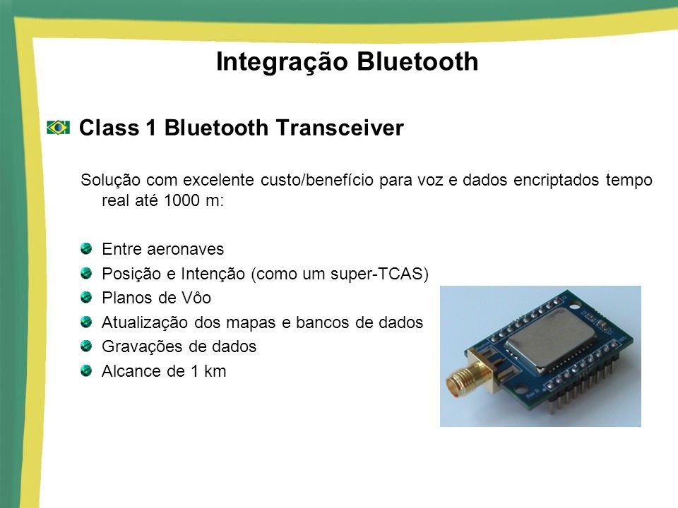 Integração Bluetooth Class 1 Bluetooth Transceiver Solução com excelente custo/benefício para voz e dados encriptados tempo real até 1000 m: Entre aer