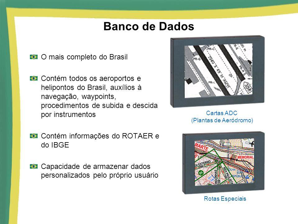 Banco de Dados O mais completo do Brasil Contém todos os aeroportos e helipontos do Brasil, auxílios à navegação, waypoints, procedimentos de subida e