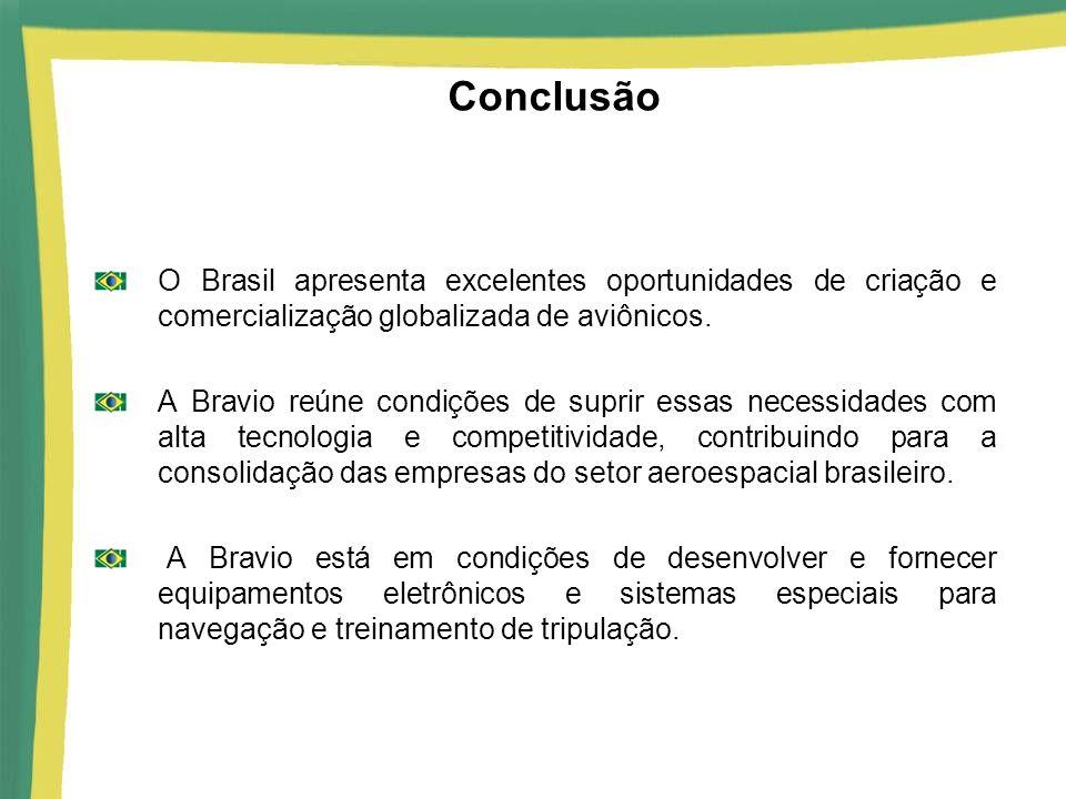 Conclusão O Brasil apresenta excelentes oportunidades de criação e comercialização globalizada de aviônicos. A Bravio reúne condições de suprir essas