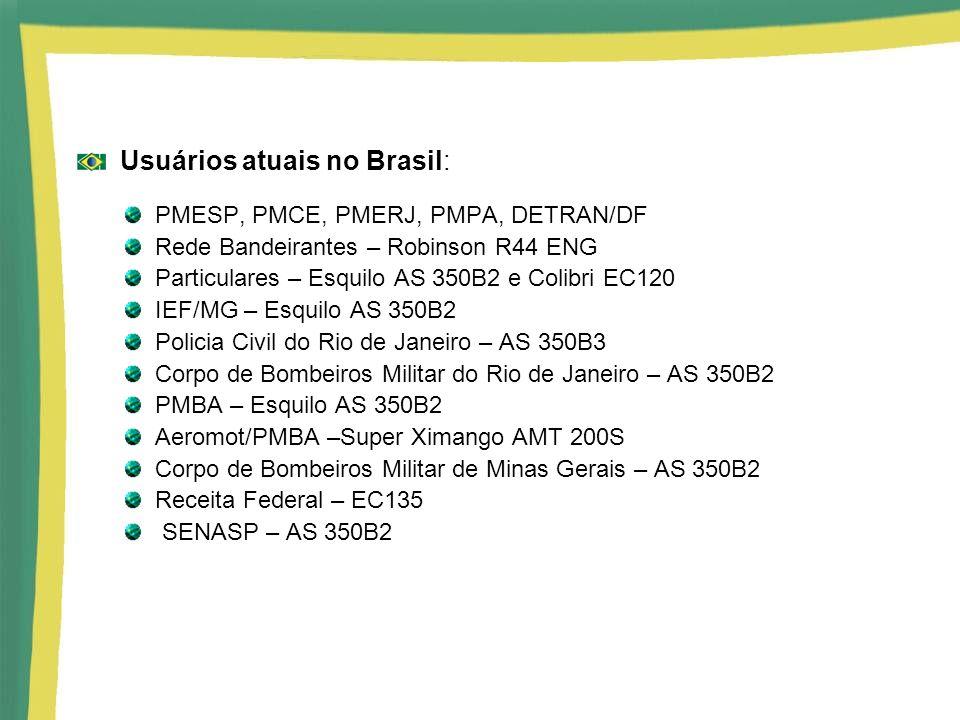 Usuários atuais no Brasil: PMESP, PMCE, PMERJ, PMPA, DETRAN/DF Rede Bandeirantes – Robinson R44 ENG Particulares – Esquilo AS 350B2 e Colibri EC120 IE