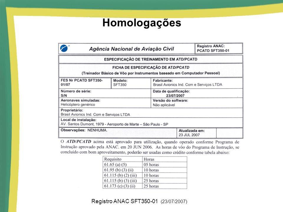 Homologações Registro ANAC SFT350-01 (23/07/2007)