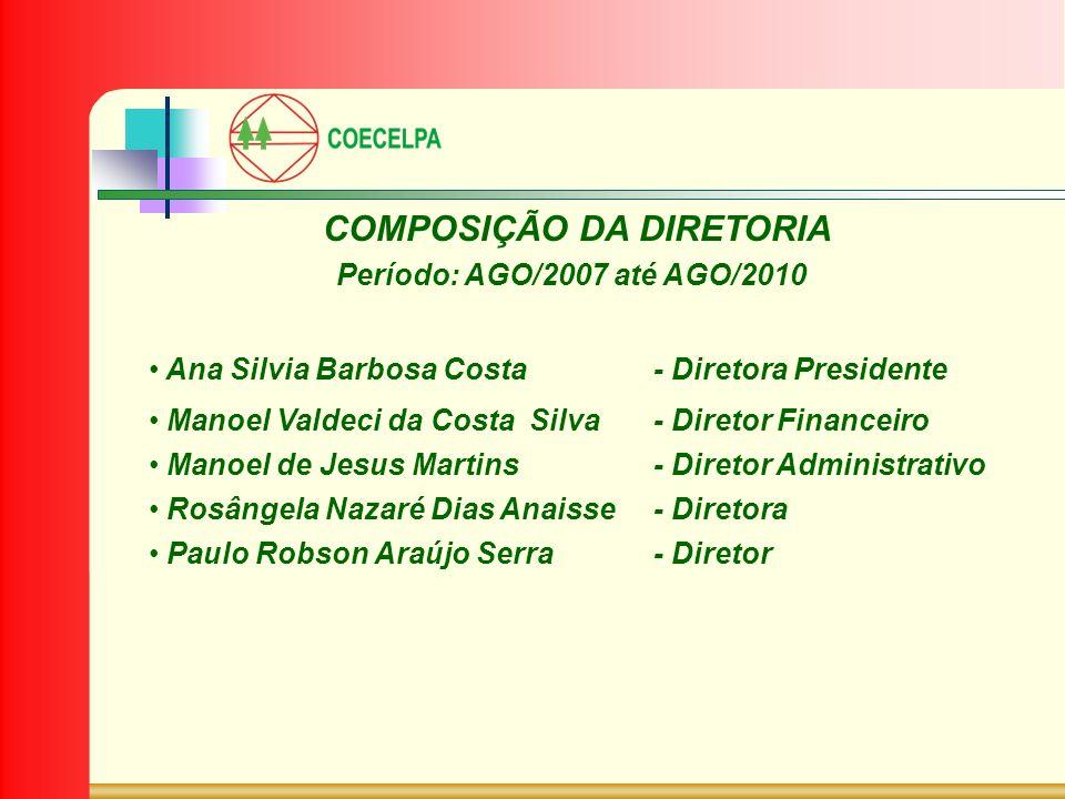 COMPOSIÇÃO DA DIRETORIA Período: AGO/2007 até AGO/2010 Ana Silvia Barbosa Costa- Diretora Presidente Manoel Valdeci da Costa Silva- Diretor Financeiro