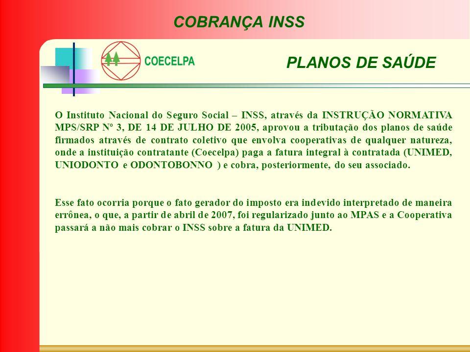 COBRANÇA INSS PLANOS DE SAÚDE O Instituto Nacional do Seguro Social – INSS, através da INSTRUÇÃO NORMATIVA MPS/SRP Nº 3, DE 14 DE JULHO DE 2005, aprov