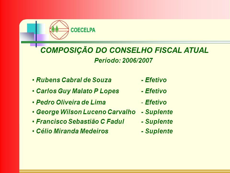 COMPOSIÇÃO DO CONSELHO FISCAL ATUAL Período: 2006/2007 Rubens Cabral de Souza- Efetivo Carlos Guy Malato P Lopes- Efetivo Pedro Oliveira de Lima- Efet
