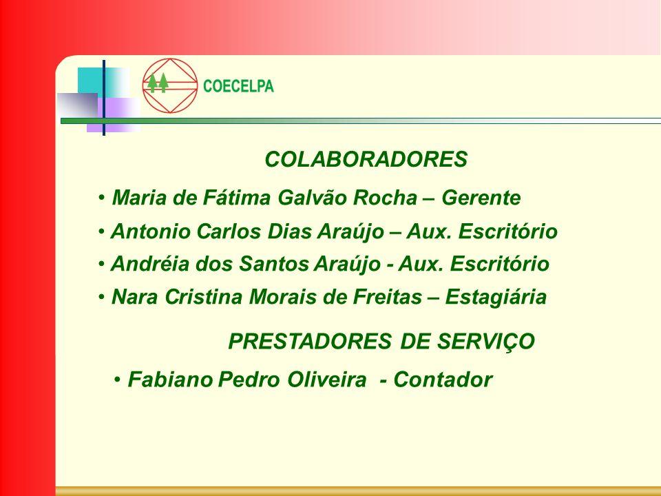 COLABORADORES Maria de Fátima Galvão Rocha – Gerente Antonio Carlos Dias Araújo – Aux. Escritório Andréia dos Santos Araújo - Aux. Escritório Nara Cri
