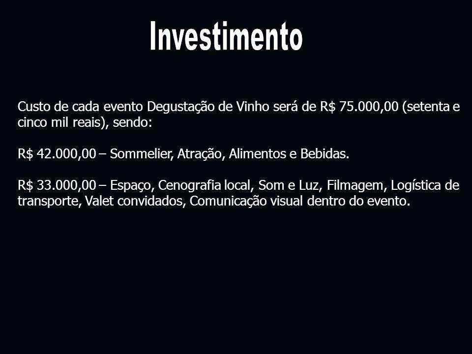 Custo de cada evento Degustação de Vinho será de R$ 75.000,00 (setenta e cinco mil reais), sendo: R$ 42.000,00 – Sommelier, Atração, Alimentos e Bebid