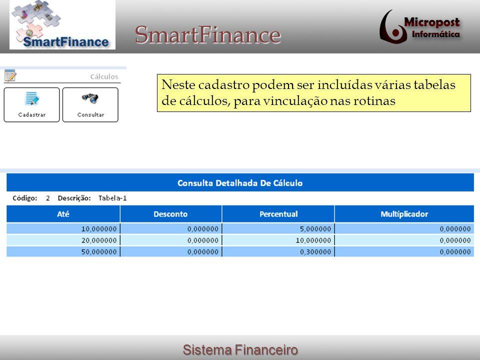 SmartFinance Neste cadastro podem ser incluídas várias tabelas de cálculos, para vinculação nas rotinas