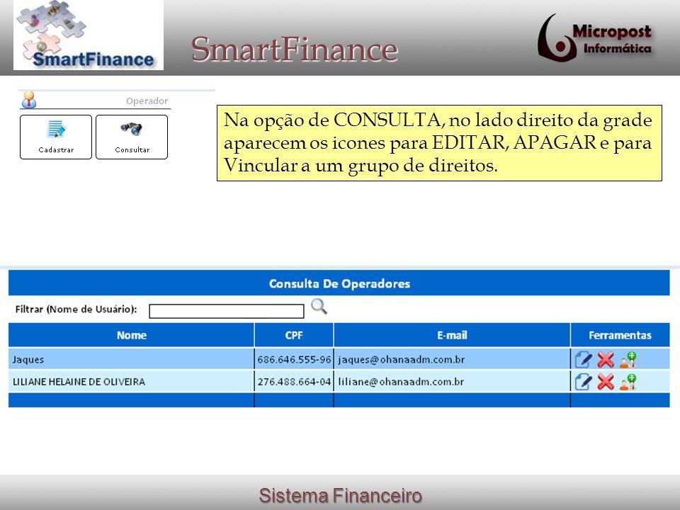 Sistema Financeiro SmartFinance Na opção de CONSULTA, no lado direito da grade aparecem os icones para EDITAR, APAGAR e para Vincular a um grupo de direitos.
