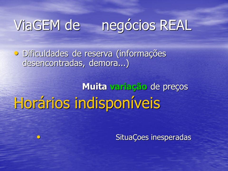 ViaGEM de negócios REAL Dificuldades de reserva (informações desencontradas, demora...) Dificuldades de reserva (informações desencontradas, demora...