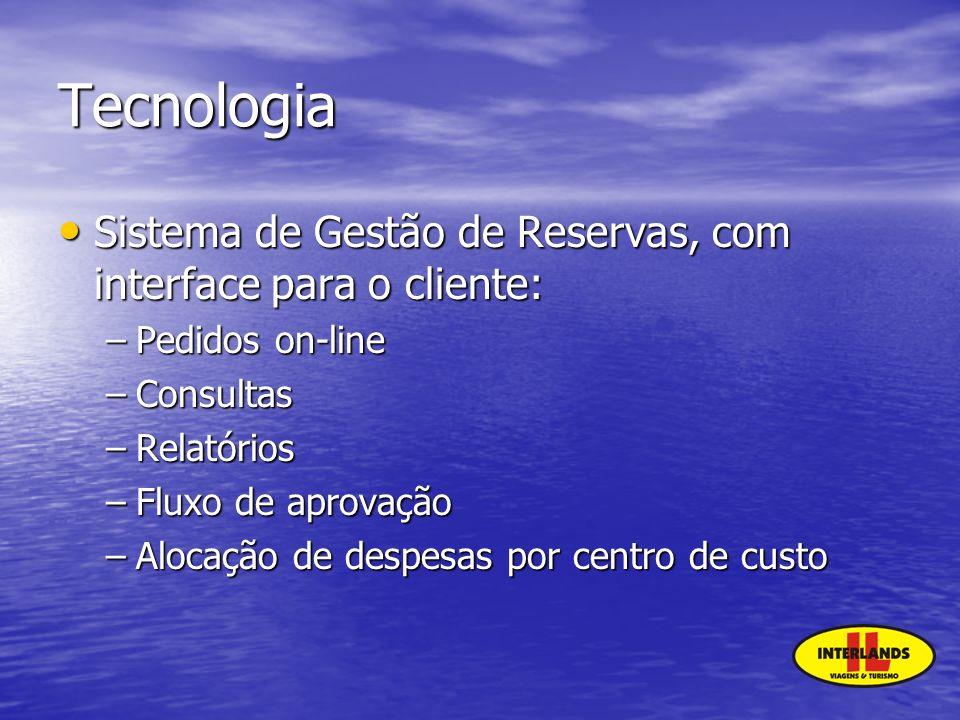 Tecnologia Sistema de Gestão de Reservas, com interface para o cliente: Sistema de Gestão de Reservas, com interface para o cliente: –Pedidos on-line